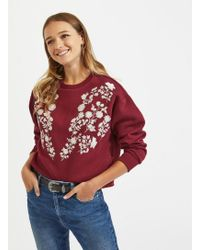 Miss Selfridge - Burgundy Embroidered Sweatshirt - Lyst