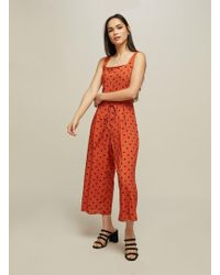 Miss Selfridge - Rust Spot Print Pinafore Jumpsuit - Lyst