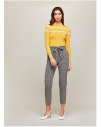 Miss Selfridge - Grey Checked Paper Bag Trousers - Lyst