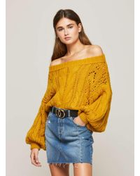 Miss Selfridge - Ochre Bardot Cable Knitted Jumper - Lyst
