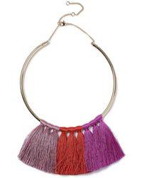 Miss Selfridge - Tonal Tassel Necklacee - Lyst