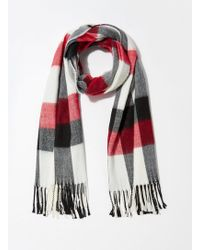 Miss Selfridge - Red And Monochrome Checked Scarf - Lyst