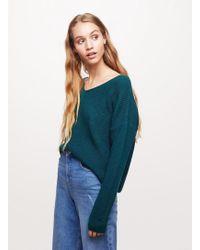 Miss Selfridge - Green Lace Lattice Back Jumper - Lyst