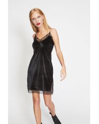 7562f3000781 Miss Selfridge Black Lace Trim Slip Dress in Black - Lyst