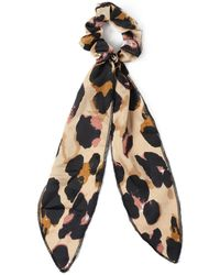 Miss Selfridge - Leopard Print Tail Scrunchie - Lyst
