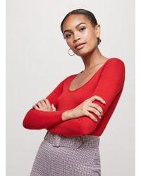 Miss Selfridge - Red Long Sleeve Scoop Neck Body - Lyst