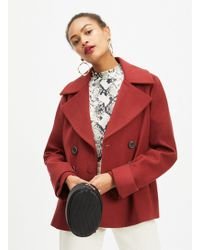 860b4b99f69 Miss Selfridge Petite Burgundy Pea Coat in Purple - Lyst