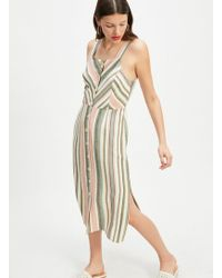 c781d625613 Miss Selfridge - Chevron Stripe Linen Shift Dress - Lyst