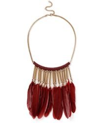 Miss Selfridge - Red Feather Necklace - Lyst