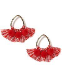 Miss Selfridge - Red Pom Fringe Earrings - Lyst