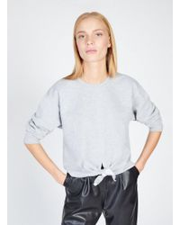 Miss Selfridge - Grey Knot Front Sweatshirt - Lyst