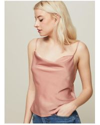 Miss Selfridge - Nude Satin Cowl Neck Camisole Top - Lyst
