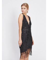 Miss Selfridge - Black Beaded Scallop Mini Dress - Lyst