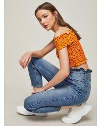 Miss Selfridge - Mom Blue Frill Top Jeans - Lyst