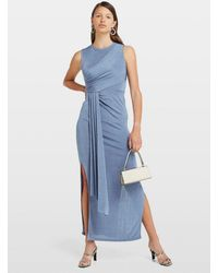 Miss Selfridge - Blue Grecian Maxi Dress - Lyst