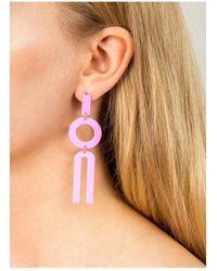 Miss Selfridge - Pink Geometric Drop Earrings - Lyst