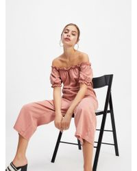0f06781f1ea Miss Selfridge - Bardot Jumpsuit With Puff Sleeves In Pink - Lyst
