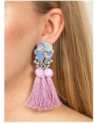 Miss Selfridge - Sequin Flower Tassel Earrings - Lyst