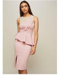 Miss Selfridge - Pale Pink Fan Mesh Peplum Midi Bodycon Dress - Lyst