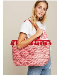 Miss Selfridge - Woven Red Tassel Tote Bag - Lyst