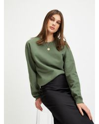 Miss Selfridge - Khaki Long Sleeve Oversized Sweatshirt - Lyst