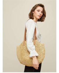 Miss Selfridge - Natural Circle Straw Tote Bag - Lyst