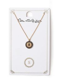 Miss Selfridge - S Initial Round Ditsy Necklace - Lyst