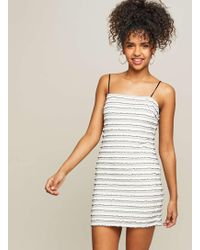 Miss Selfridge - Monochrome Striped Ruffle Shift Dress - Lyst