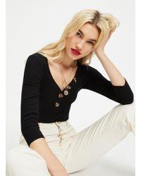 Miss Selfridge - Black 3/4 Sleeve Ribbed Button Bodysuit - Lyst