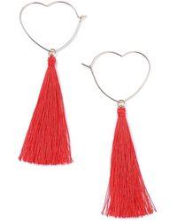 Miss Selfridge - Red Heart Tassel Earring - Lyst