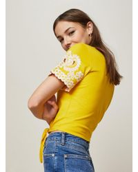 Miss Selfridge - Ochre And White Cutwork Tie Front T-shirt - Lyst