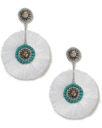 Miss Selfridge - Blue Fringe Earrings - Lyst