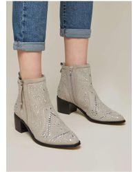 Miss Selfridge - Dazzle Grey Studded Ankle Boots - Lyst