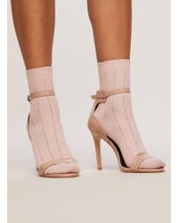 Miss Selfridge - Nude Sparkle Ribbed Socks - Lyst