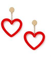 Miss Selfridge - Red Heart Earrings - Lyst