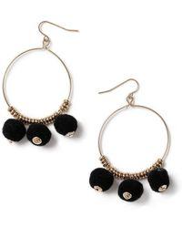 Miss Selfridge - Black Pom Earrings - Lyst