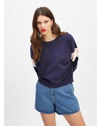 Miss Selfridge - Navy Long Sleeve Striped Sleeve Sweatshirt - Lyst