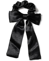 Miss Selfridge - Black Silk Floppy Bow Hairband - Lyst