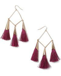 Miss Selfridge - Diamond Shaped Tassel Earrings - Lyst