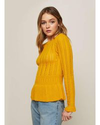 Miss Selfridge - Ochre Peplum Knitted Jumper - Lyst