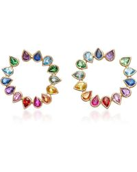 She Bee | Wrap Around 14k Gold Sapphire Hoop Earrings | Lyst