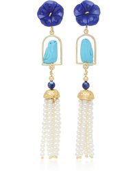 Of Rare Origin - Swingers 18k Yellow Gold Vermeil, Lapis, Turquoise And Pearl Earrings - Lyst