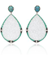 Fred Leighton - One-of-a-kind Carved Icy White Jade, Opal, Sapphire, Emerald And Onyx Pendant Earrings - Lyst