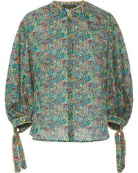 Zac Posen - Liberty Cotton Top With Puffed Sleeves - Lyst