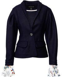 ANOUKI Dark Blue Slim-fit Blazer