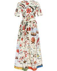 Oscar de la Renta - Belted Printed Silk-twill Midi Dress - Lyst