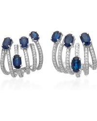 Hueb | Spectrum 18k White Gold, Diamond And Sapphire Earrings | Lyst