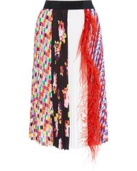 MSGM - Feather-embellished Printed Plissé Midi Skirt - Lyst