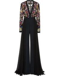 Zuhair Murad Floral Sequin Embellished Jumpsuit - Black
