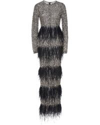 Rachel Gilbert - Nisha Embroidered Feathers Gown - Lyst